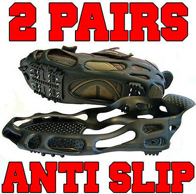 2 Pairs Of Premium Quality Anti Slip Over Shoe Snow Ice Grips - Grippers Boots
