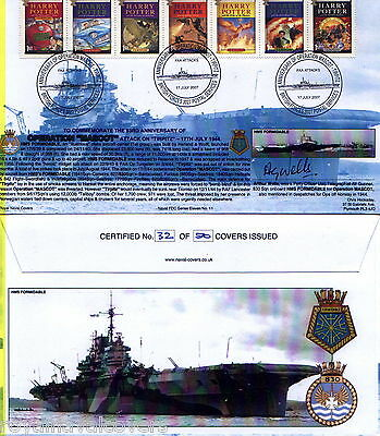 First Day Cover HMS FORMIDABLE TIRPITZ ATTACKS OP MASCOT HARRY POTTER ISSUE