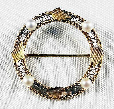 Rare Womens Gold Filled Leaves & Authentic Pearls Pin - Very Delicate & Lovely