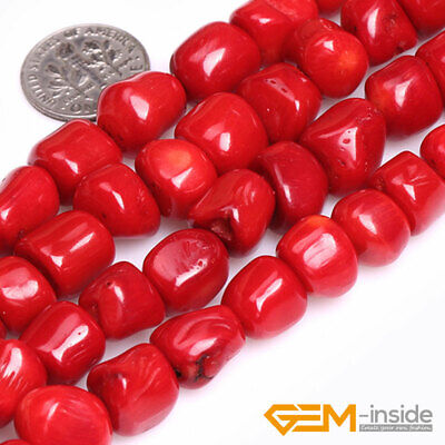 "Red Coral Gemstone Freeform Column Tube Beads For Jewelry Making 15"" Strand DIY"
