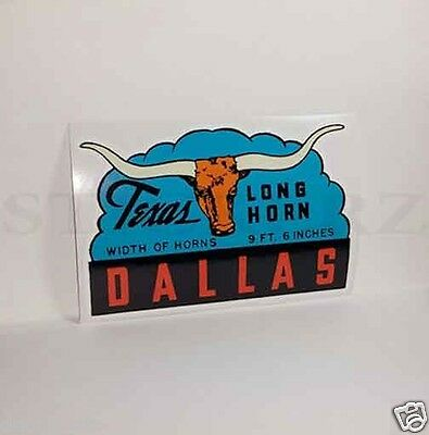 DALLAS Texas Long Horn Vintage Style Travel DECAL / Vinyl STICKER, Luggage Label