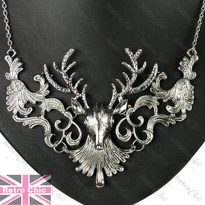 LARGE STAG NECKLACE chain BIG ANTLERS brass/vintage silver/antique gold plated