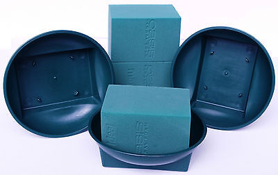6 Green Square Base Bowls with Matching Oasis MaxLife Floral Foam