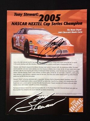 Tony Stewart Autographed Signed 8 X 10 Post Card