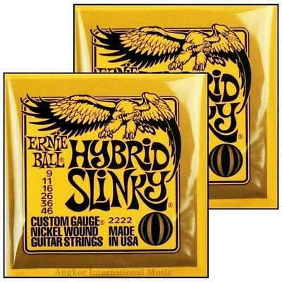 2 x Ernie Ball 2222 Nickel Hybrid Slinky Electric Guitar Strings  9 - 46  2 Sets