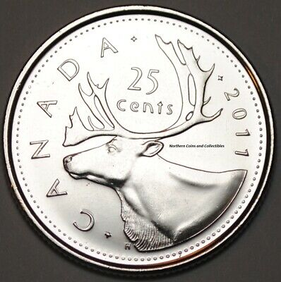 Canada 2011 25 cents Nice UNC from roll - BU Canadian Caribou Quarter