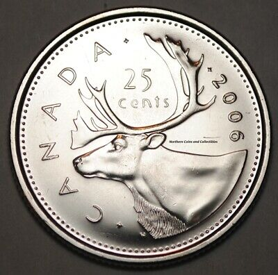 Canada 2006 Logo 25 cents Nice UNC from roll - BU Canadian Caribou Quarter