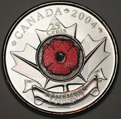 Canada 2004 Poppy 25 cents Nice UNC from roll - BU Canadian Quarter