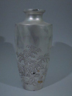 Vase with Seascape - Japanese Silver - Asian - Meiji - C 1910