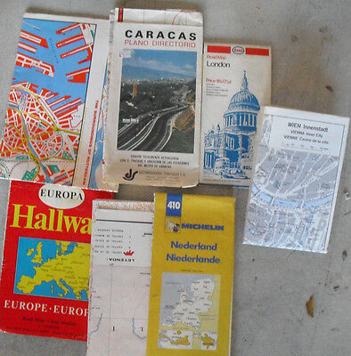 Lot of 7 Vintage 1960s Europe Town Country Maps LOOK