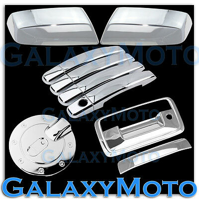 14-15 Chevy Silverado 1500 Triple Chrome 4 Door Handle+Tailgate+Camera Hol Cover