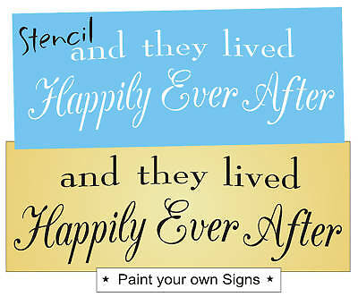 Shabby Cottage STENCIL They Lived Happily Ever After Princess Bedroom Love Signs