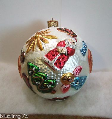 Slavic Treasures Ornament Holiday Fancy Ball Glass Santa Tree Angel NIB (S5)
