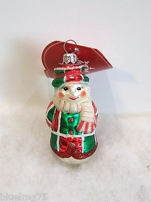 Slavic Treasures Ornament Tree Gripper Glass Poland Snowman NIB (S5)