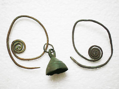 ANCIENT RARE 100% Authentic Bronze EARRINGS  Goths 2 - 4 century AD