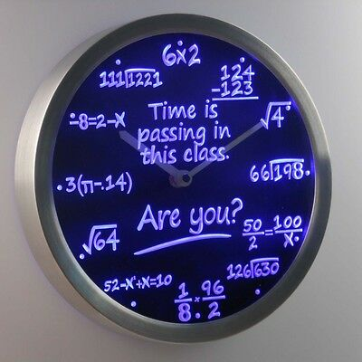 nc0463-r Math Class Time is Passing are you? Gift Decor Neon LED Wall Clock