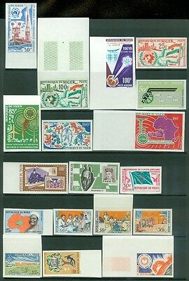 NIGER : Clean collection of 38 different Imperf with many Topicals. VF, Mint NH.