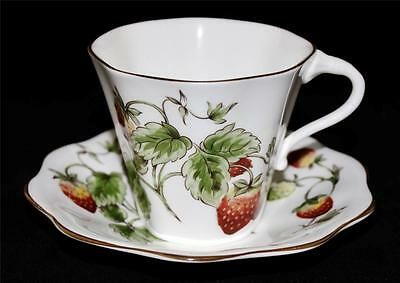 Coalport China, England STRAWBERRY Cup & Saucer Set, Excellent Condition