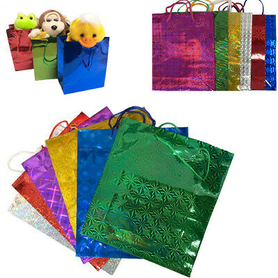 Gift Bags Holographic Paper Wine Party Present Loot Shiny Carrier Foil Wrapping