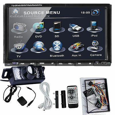 7INCH 2Din Car Stereo DVD Player Car Radio Bluetooth IPOD SD USB HD LCD+Camera