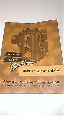 1950 Century Model C and CC Projectors Parts List Booklet 30 pgs Very Good