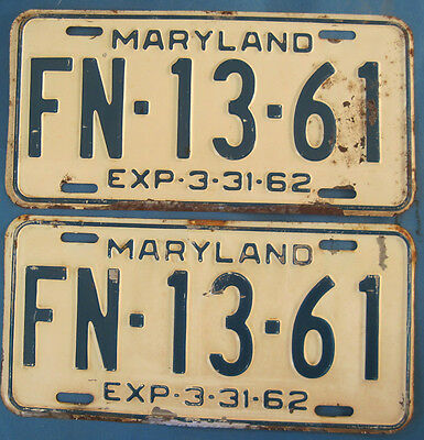 1962 Maryland License Plates Matched Pair