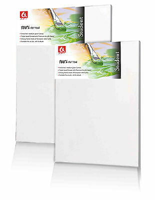 Set of 2 x 40x40cm ( 16x16 inch) BLANK STRETCHED CANVAS GESSO PRIMED 100% COTTON
