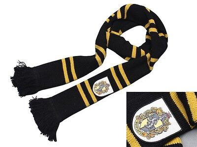 Harry Potter Hufflepuff House Thicken Wool Knit Striped Scarf Wrap Cosplay