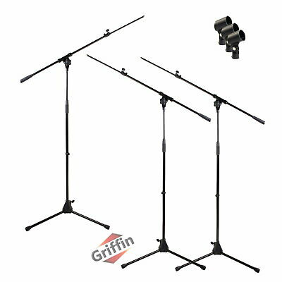 3 Pack Microphone Boom Stand Holder Mic Clip Stage Studio Tripod Griffin