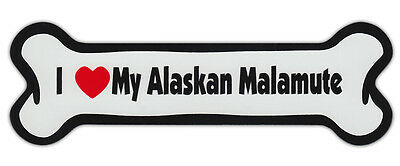 Dog Bone Shaped Car Magnets: I LOVE MY ALASKAN MALAMUTE