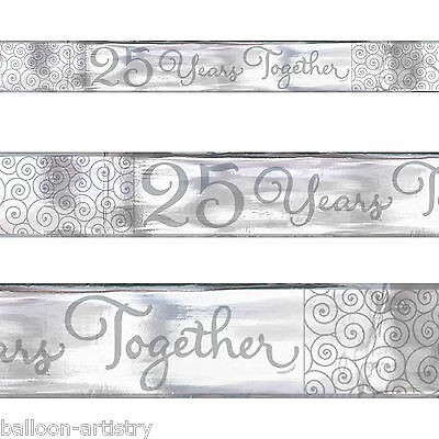 5 Yard Elegant 25 Years Silver 25th Anniversary Party Foil Banner Decoration