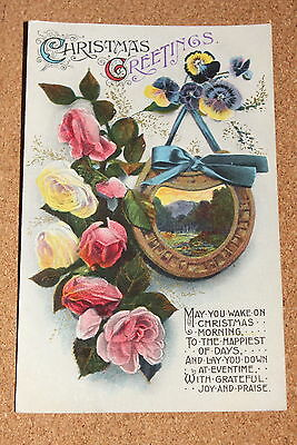 Vintage Postcard: Christmas Greetings, Horseshoe, Pansy and Roses, Flowers