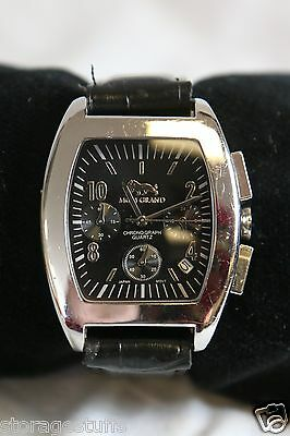 MGM Grand Chronograph Watch Black Leather Band Fresh Battery