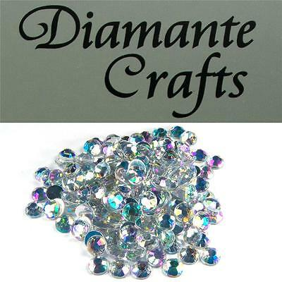 200 x 7mm Clear Iridescent Diamante Loose Flat Back Rhinestone Vajazzle Body Gem