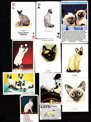 Lot Of 11 Different Vintage SIAMESE Cat Cards