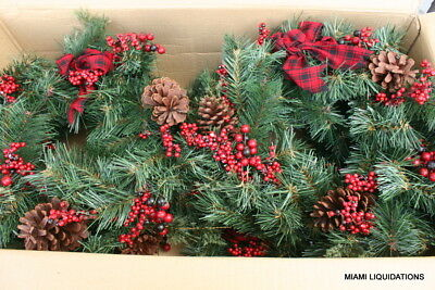 """Lot of 4 Holiday Xmas Wreaths Target  24"""" green/red Pinecones berries bow"""