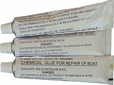 3 x 30g Tubes of heavy duty PVC repair glue for INFLATABLE BOATS