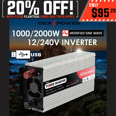 GENPOWER 1000W/2000W Pure Sine Wave 12V/240V Power Inverter CarPlug Caravan Boat
