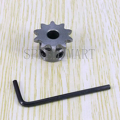 2pcs 6mm Bore 10 Teeth 10T Metal Pilot Motor Gear Roller Chain Drive Sprocket