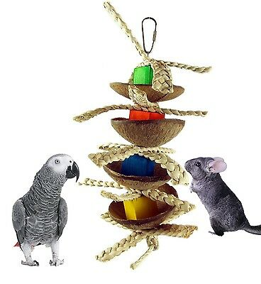 Happy Pet Boredom Buster Chinchilla Parrot Coco Fun Hanging Natural Toy 31121