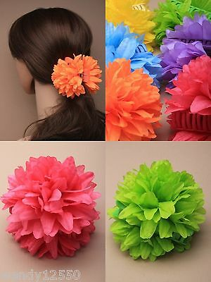 Pack Of 6 Bright Fabric Flower Hair Clamps : Wholesale Bulk Sp-4749 Pk6
