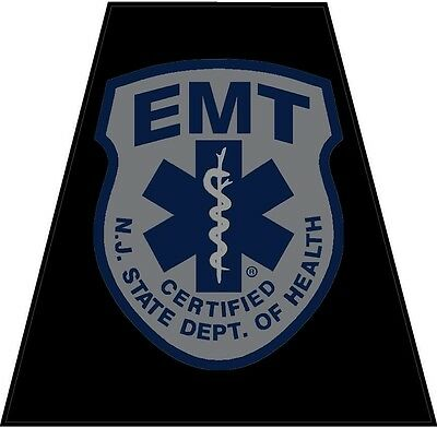 Black Firefighter Helmet Tets - Single Tetrahedrons Sticker New Jersey - Nj Emt