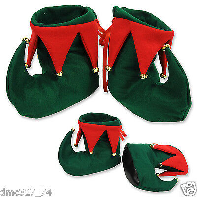 CHRISTMAS Party Costume Accessory Santa's Helper ELF BOOTS Shoes w/ Jingle Bells
