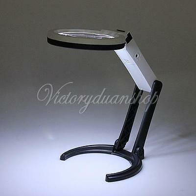 Foldable 2.5X 8X Table Desk Magnifier Magnifying Glass Lens with 10 LED Light