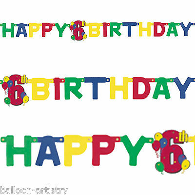 4.67ft Colourful Party Happy 6th Birthday Jointed Letter Banner Decoration