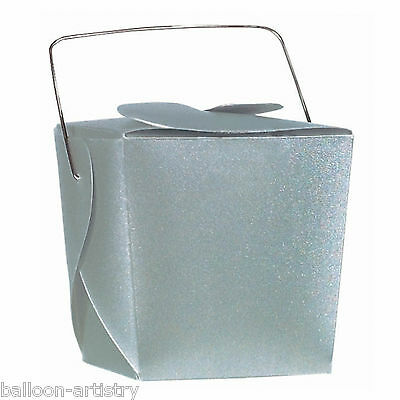 12 Classic Silver Translucent Mini Metallic Party Loot Favour Gift Pails Boxes