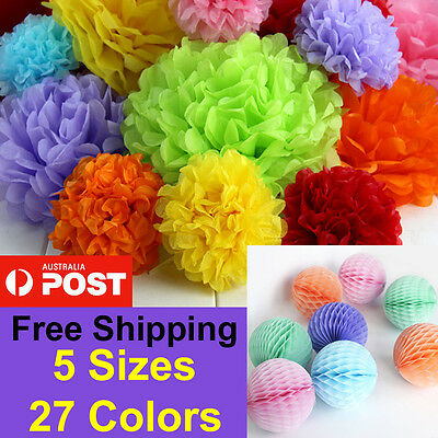 Tissue Paper Pom Poms Honeycomb Lantern Balls Wedding Party Baby Living Decor