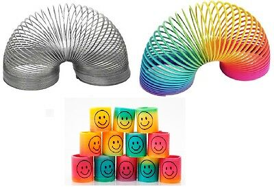 Slinky Rainbow & Silver Spring Toy Bouncy Childrens Stocking Filler Xmas Gift