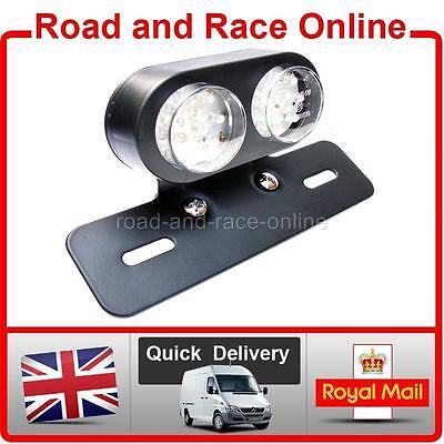 Motorcycle Rear Tail Stop Light Twin Round LED With Built in Indicators Black
