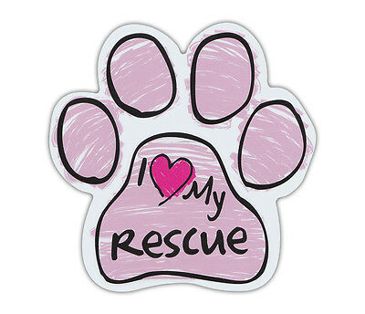 Pink Scribble Paws: I LOVE MY RESCUE | Dog Paw Shaped Car Magnets